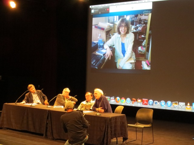 "The panel ""Subject to Change:"" Challenging Media includes Nancy Cain Skyped in from California."