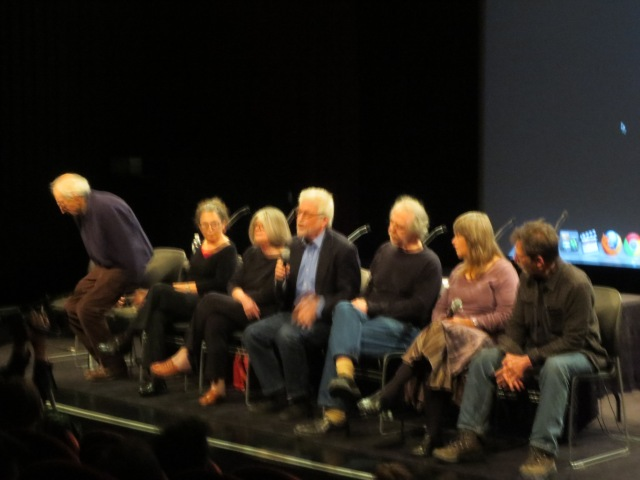 A blurry but full compliment of Freex take the stage in a Q and A session at the event. Nancy was again present on screen.