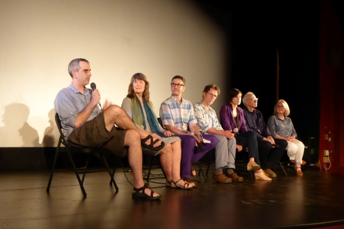 On the panel were (L-R): Filmmaker Jon Nealon, Mary Curtis Ratcliff, curator Andrew Ingall (moderating), Bart Friedman, Rhea Kennedy, Parry Teasdale, and Carol Vontobel. Photo by Tobe Carey, Willow Mixed Media.