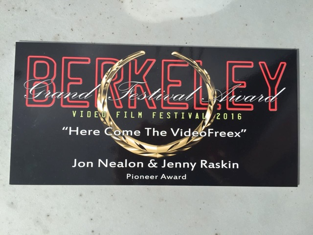 "plaque: ""Berkeley Video and Film Festival... Pioneer Award"""