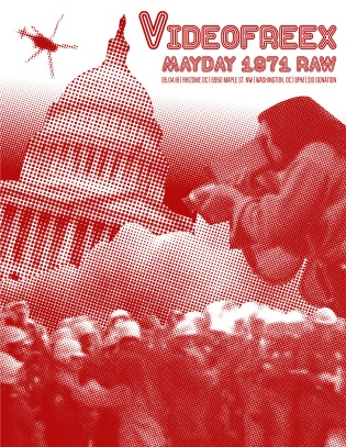 A Rhizome DC poster spreads the word about the May 4 screening of MAYDAY 1971 RAW